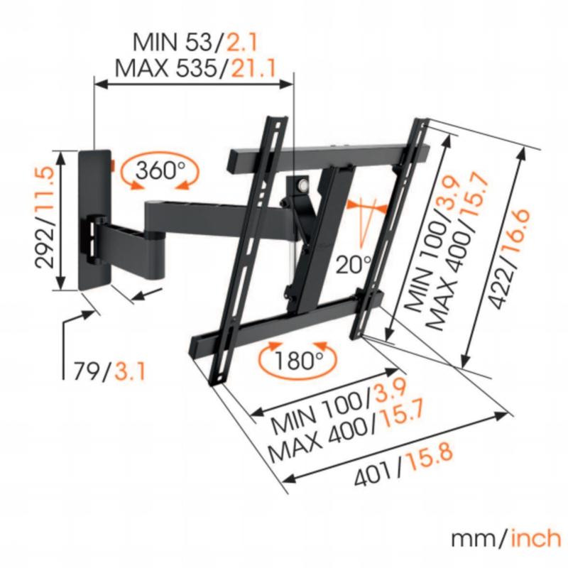 Support tv orientable 32-55p VOGEL S WALL3245BLACK