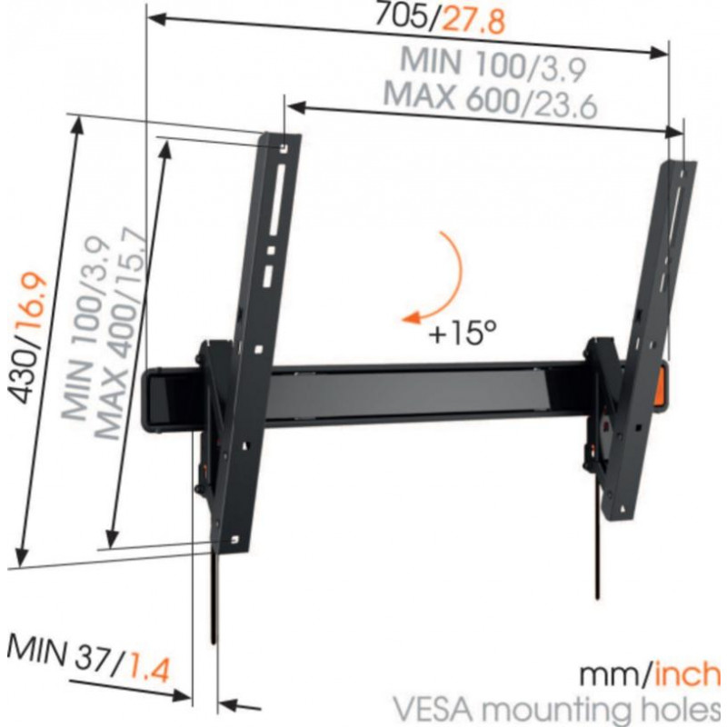 Support tv inclinable 40-80p VOGEL S WALL3315
